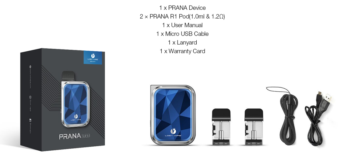 lost vape Prana Kit Package